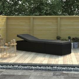 vidaXL Leżak ogrodowy z poduszką, polirattan, czarny 46221