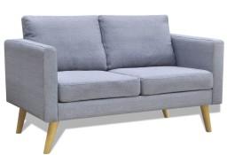 vidaXL Sofa 2-osobowa, materiałowa, jasnoszara242218