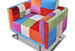 vidaXL Fotel w formie kostki z chromowaną podstawą, patchworkowy240895
