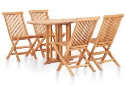 vidaXL 5-cz. zestaw składanych mebli ogrodowych, lite drewno tekowe49003