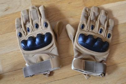 Rękawice taktyczne wojskowe militarne piaskowe (tan) pełne palce