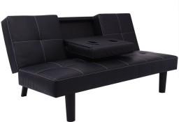 vidaXL Rozkładana kanapa ze sztucznej skóry ze stolikiem, czarna243039