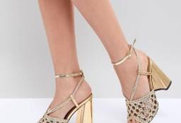 (40) ASOS/ Złote, ażurowe sandałki wieczorowe, sandały na obcasie/ NOWE