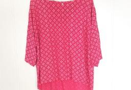 Różowa bluzka tunika Unisono L 40 wzór wiskoza na lato asymetryczna koszula