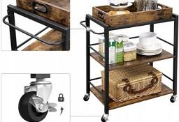 Wózek kelnerski, stolik kuchenny na kółkach. Brąz rustykalny, industrial, loft.