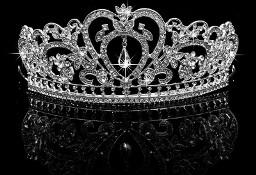 Nowa korona diadem tiara srebrny kolor cyrkonie diamenty królowa księżna ślub