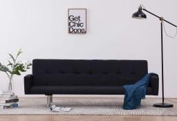 vidaXL Sofa rozkładana z podłokietnikami, czarna, poliester282223