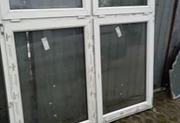 okno PCV dwuskrzydłowe, białe, wymiary zewnętrzne szer. 176 cm. wys. 176 cm,