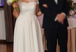 Suknia  ślubna z muślinu jedwabnego kolor ecru rozm.38 -teraz taniej