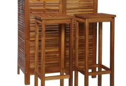 vidaXL Stolik barowy i hokery, 3 elementy, lite drewno akacjowe44008