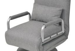 vidaXL Obrotowy fotel rozkładany, jasnoszary, tkanina244666