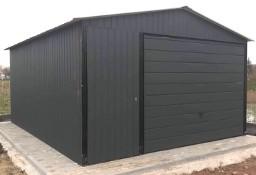 Garaż blaszany 4x6 dwuspadowy w kolorze z bramą uchylną