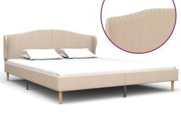 vidaXL Rama łóżka, tkanina, beżowa, 180 x 200 cm 280646