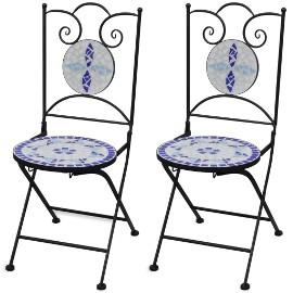 vidaXL Składane krzesła bistro, 2 szt., ceramiczne, niebiesko-białe 41531