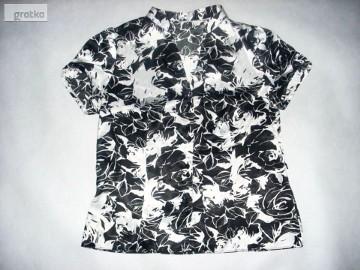 Czarno Biała bluzka koszula Stójka Satyna 42/44 j nowa