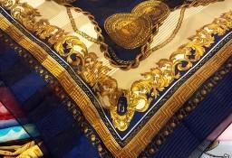 ZARA/ Wytworna, granatowa apaszka biznesowa z łańcuchami z Madrytu/ szal, chusta