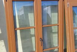 drzwi balkonowe, drewno, ciemny brąz, szer. 110cm, wys. 220 cm,