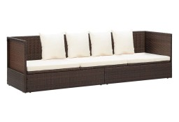 vidaXL Kanapa ogrodowa z poduszkami, polirattan, brązowa 49392