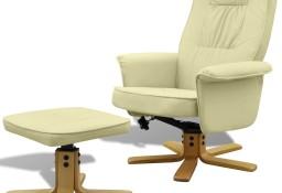 vidaXL Fotel z podnóżkiem, kremowy, sztuczna skóra 241034