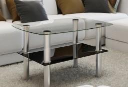 vidaXL Szklany stolik kawowy z półką 240341