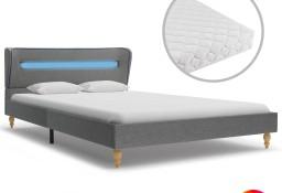 vidaXL Łóżko LED z materacem memory, jasnoszare, tkanina, 120x200 cm 277697