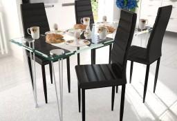 4 wysokie czarne krzesła do jadalni + stół ze szklanym blatem271689