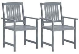 vidaXL Krzesła ogrodowe, 2 szt., szare, lite drewno akacjowe 45944