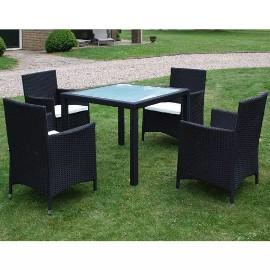 vidaXL 5-cz. zestaw mebli ogrodowych z poduszkami, rattan PE, czarny 43122