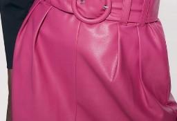 (36/S) ZARA/ Różowa, skórzana spódnica z paskiem/ NOWA