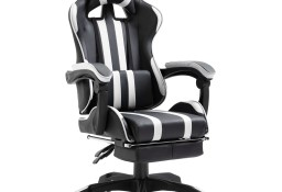 vidaXL Fotel dla gracza z podnóżkiem, biały, sztuczna skóra20221