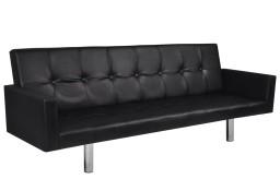 vidaXL Rozkładana kanapa z podłokietnikami, sztuczna skóra, czarna 242214