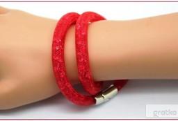 Bransoletka STYL Swarovski STARDUST Bright Red Mesh Micro Kryształ