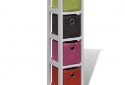 vidaXL Regał z kolorowymi koszami, drewno paulowni241540