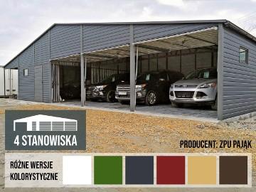 Garaż blaszany 17x6,5m blacha w kolorze, bramy uchylne do góry