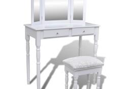 vidaXL Toaletka z 3-częściowym lustrem, 2 szufladami i stołkiem, biała241003