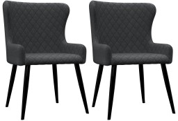 vidaXL Krzesła do jadalni, 2 szt., ciemnoszare, tapicerowane tkaniną282516