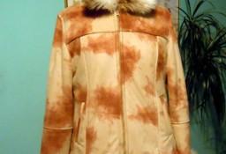 Kożuszek damski z futrzanym kołnierzem, rozmiar M