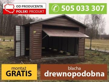 MONTAŻ GRATIS garaż blaszany drewnopodobny 4x6 brama uchylna PRODUCENT