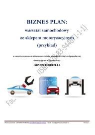 BIZNESPLAN na założenie warsztatu samochodowego ze sklepem motoryzacyjnym 2016