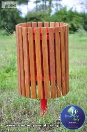 Kosz na śmieci mały drewniany plac zabaw