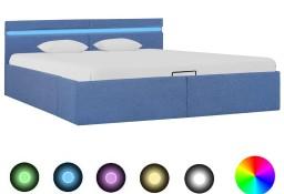 vidaXL Rama łóżka z podnośnikiem i LED, niebieska, tkanina, 180x200 cm 285617