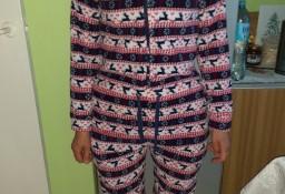 (36/S) Długi, futrzany kombinezon z kapturem, dresy, piżama, futerko z Londynu