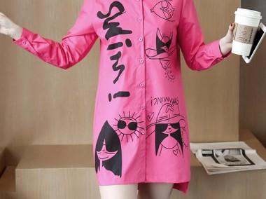 Koszula Bluzka Damska Shirt shirt Turn down Red Rose Graffiti Print-1
