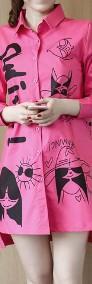 Koszula Bluzka Damska Shirt shirt Turn down Red Rose Graffiti Print-4