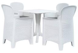 vidaXL 5-częściowy zestaw mebli ogrodowych, plastikowy, biały 276156