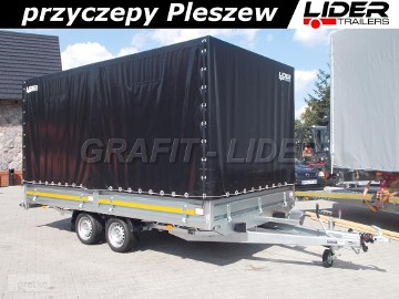 LT-042 przyczepa + plandeka 420x220x210cm, spedycyjna przyczepa ciężarowa, burty stalowe, DMC 2700kg