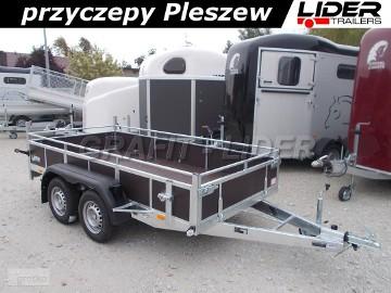 LT-076 przyczepa 320x150x45cm, rampa tylna, 2x oś niehamowana 1300kg, wzmacniana, DMC 750kg