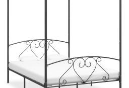 vidaXL Rama łóżka z baldachimem, szara, metalowa, 140 x 200 cm 284443
