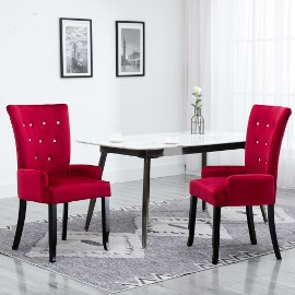 vidaXL Krzesło jadalniane z podłokietnikami, czerwone, aksamitne 248465