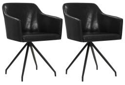 vidaXL Obrotowe krzesła stołowe, 2 szt., czarne, sztuczna skóra247067